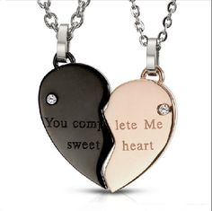 Heart Shape Necklaces for Couple-you complete me sweetheart .... it would be so romantic if your boyfriend gave u this!