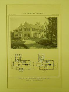 House of J. A. Karnheim, Esq., West Newton, MA, 1914, Lithograph. Gay & Proctor.