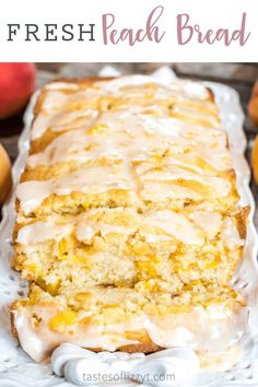 This Peach Bread is a wonderful recipe to incorporate summer peaches. Delicious, moist quick bread full of ripe diced peaches with a easy peach glaze. Easy Bread Recipes, Fruit Recipes, Gourmet Recipes, Baking Recipes, Dessert Recipes, Drink Recipes, Köstliche Desserts, Delicious Desserts, Fresh Peach Recipes