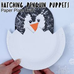 Make a fun paper plate penguin craft. Penguin craft for kids to make. Fun art project for winter or learning about penguins. Winter Crafts For Toddlers, Animal Crafts For Kids, Toddler Crafts, Winter Preschool Crafts, Toddler Fun, Paper Plate Crafts, Paper Plates, Penguin Craft, Puppet Crafts