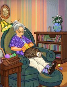 super Ideas for knitting quotes so true yarns Illustrators, Folk Art, Cat Art, Illustration Art, Art, Cartoon, Cat Drawing, Fiber Art