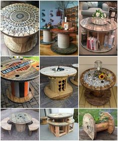 Wooden Spool Projects, Wooden Spool Tables, Cable Spool Tables, Diy Wood Projects, Wooden Cable Spools, Pallet Garden Furniture, Outdoor Furniture Plans, Diy Furniture, Tiki Bar Decor