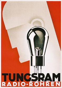 """Tungsram"" [Radio - Röhren], (1933), Graphic Design and Illustration (Anonym, Deutschland), Stamp Offset, Size: 46.8 x 32.6 inch. (119 x 83 cm.) -  MACCHINA, Valvolare Vintage Ampl. Poster, Artistic Stamp Industrial Audiophile ~  Original Vintage 'ART DECO' Poster."