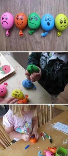 Stress Ball Balloons – balloons filled with playdough, with faces drawn on with … Stressball-Luftballons – Luftballons, die mit Knetmasse.