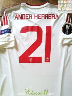 4b62b693715 Relive Ander Herrera s 2015 2016 Europa League with this original Adidas Manchester  United away football