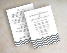 Gray chevron wedding invitation, chevron invite, chevron wedding stationery, wedding invitation, charcoal gray and black, Chevron. www.appleberryink.com