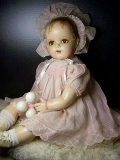 """You all might remember this doll...Miracle on 34th street doll. She is a stunning compo doll restored by Linda Swankykitty Smith"