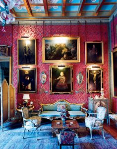 The Spanish salon inside the 18th Duchess of Alba's masterpiece-filled Madrid palace.