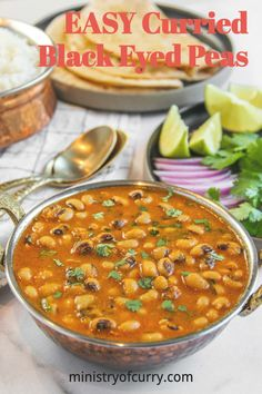 Black Eyed Peas Curry cooked in a smooth onion, tomatoes and coconut based sauce with earthy flavors from turmeric, cumin and coriander. Spiced with red chili powder and aromatic garam masala serve with warm rice or roti. #ministryofcurry #indianfood #vegetarain Veggie Recipes Healthy, Vegetarian Recipes Videos, Healthy Indian Recipes, Pea Recipes, Curry Recipes, Easy Chicken Recipes, Instant Pot Dinner Recipes, Delicious Dinner Recipes, Curry Spices