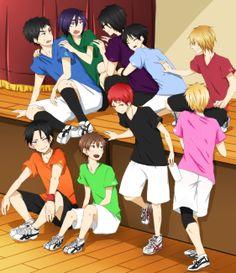 En haut : Kasamatsu, Hanamiya, Imayoshi, Izuki, Kasuga En bas : Takao, Furihata, Akashi, Fukui