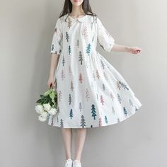 Buy Clover Dream Tree Print Elbow Sleeve Dress at YesStyle.com! Quality products at remarkable prices. FREE WORLDWIDE SHIPPING on orders over US$ 35.