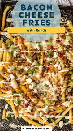 Bacon Cheese Fries with Ranch are my  go-to party food. This cheese fries recipe is an easy and fun appetizer for game day, parties or just a cozy night in. Crispy fries, ranch seasoning, bacon, cheddar, mozzarella, and feta.  #sponsored #gamedayfood #loadedfries #partyfood #bacon #frenchfries Bacon Seasoning, Ranch Seasoning, Bacon Cheese Fries, Fries Recipe, Party Dishes, Game Day Food, Best Appetizers, Quick Meals, Cheddar