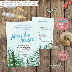 ♥ Bachelorette Party Design - Conifer & Sky ♥  Get your favorite girls today and head to the woods for some rustic fun! Your choice of just the invite, or the printable invitation and printable matching itinerary!  Both of these printable digital files are each designed to print at 5x7.  *****Please note that this listing is for a digital file only. No physical items are sent to you. Any frames, flowers, desk items, etc., shown in the photo are computer generated and are not included in the…