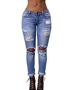 Damen Ripped Denim Distressed Destroyed Jeans Hose Stretch High Waist Risse Blau