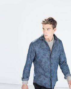 Image 2 of FLORAL PRINT INDIGO SHIRT from Zara