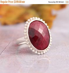 Ruby ring  Precious ring  oval ring  July birthstone by Studio1980