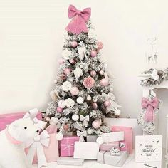 56 Cute Pink Christmas Tree Decoration Ideas You Will Totally Love. If you have a young girl at home or if you yourself feel like a little girl then this year you can express that with a pink Christma. Cosy Christmas, Silver Christmas Tree, Christmas Tree Design, Shabby Chic Christmas, Whimsical Christmas, Elegant Christmas, Christmas Colors, Christmas Home, White Christmas