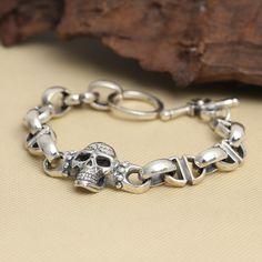 Wholesale NEC2525 Sterling Silver Personalized Jewelry Retro Thai Silver men's Super Large Skull Bracelet Bracelet