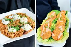 Perfectly poached eggs and decadent crab cakes for a New Orleans style wedding from Wolfgang Puck Catering.