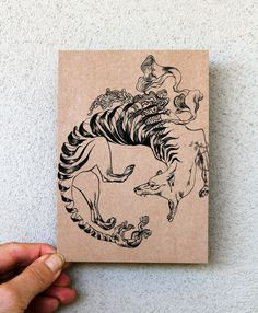 Original Art Postcard, detailed hand drawing of a Thylacine, black on recycled brown paper by Shovava at etsy.com, $4.50 !!
