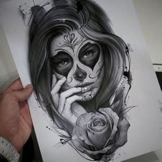 black and white sugar skull girl tattoo Future Tattoos, New Tattoos, Body Art Tattoos, Sleeve Tattoos, Tatoos, La Muerte Tattoo, Catrina Tattoo, Skull Girl Tattoo, Sugar Skull Tattoos