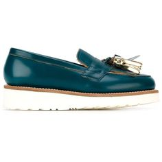 Grenson Clara Flatform Loafers (20.700 RUB) ❤ liked on Polyvore featuring shoes, loafers, blue, grenson shoes, genuine leather shoes, leather loafers, flatform shoes and leather shoes