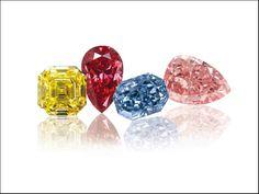 Diamanti giallo, rosso, blu, rosa
