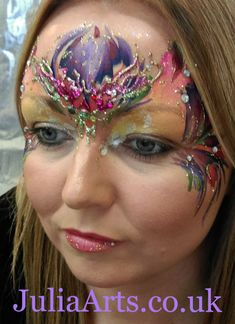 JuliaArts Fae / Faerie face paint and bling in purples pinks and gold