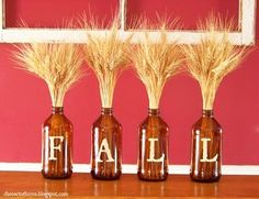 "root beer bottle. letters. wheat.  Thanks to the Hausman's I have enough to spell out ""Happy Thanksgiving""!"