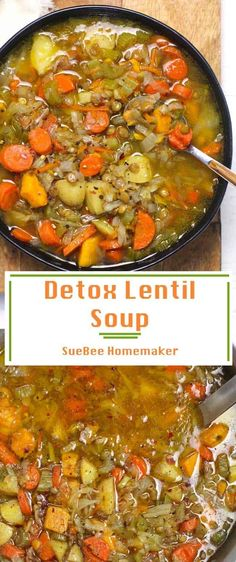 Detox Lentil Soup is loaded with fresh veggies, dried lentils, a tasty broth, and just the right amount of seasoning. Add a few crushed up slices of bacon for an extra flavor bomb, or leave it meatless. So healthy and delicious too! Potluck Recipes, Cooking Recipes, Healthy Recipes, Healthy Soups, Healthy Lunches, Diabetic Recipes, Cooking Tips, Vegetarian Recipes, Dinner Recipes