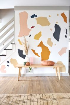 diy wall decor DIY Terrazzo Wall Mural Tutorial It started with me staring at a blank wall. Then staring at it again. Then searching for the perfect art for that wall and putting so much Terrazzo, Mural Wall Art, Painting On Wall, Diy Painting, Design Seeds, Blank Walls, Home And Deco, Cool Walls, Diy Wall Decor