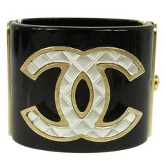 Chanel Black Gold Quilted Charm Statement Evening Cuff Bangle Bracelet