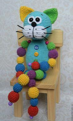 Кот Кругляш синий с бусинами игрушка вязаная крючком - купить или заказать в интернет-магазине на Ярмарке Мастеров | Вот такой замечательный и яркий авторский котейка…