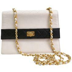 Chanel Vintage Coco Black White Quilted Lambskin Shoulder Bag