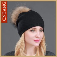 Autumn Winter Knitted Wool Hats For Women Fashion Pompon Beanies Fur Hat  Female Warm Caps With f91b6cc00152