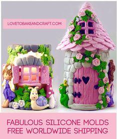FAIRY MOLDS FAIRY HOUSE MOLDS FAIRY MOULDS FAIRY HOUSE FONDANT SILICONE MOULDS SET OF 4 silicone molds Doors window fairy Make that perfect little