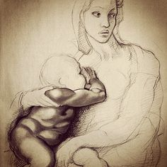 My drawing study after Michelangelo, charcoal, sanguine and white chalk on paper, 28x40 in #michelangelo #fineart #art #drawing #replica #study #virgin #sacred #instaart #instamood #tender #children #baby #virgen #charcoal #illustrations #drawingoftheday #artistsoninstagram #creativity #creative #artsy #masterpiece #sketch #sketchbook #sanguine #instaartist #instagood #beautiful #instadaily #instalike