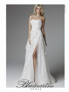 """Italian wedding dress from Blumarine, collection 2013, with a long slit in left side. this might be """"THE ONE""""!!! xo"""
