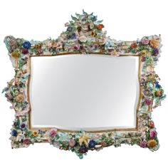A Highly Important Antique German Meissen Porcelain Figural Mirror, 19th Century