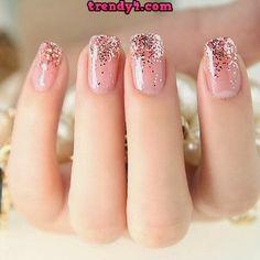 Glitter tip nails girly cute nails girl nail polish nail pretty girls pretty nails nail art nail ideas nail designs Easy Nails, Simple Nails, Love Nails, Pretty Nails, Gorgeous Nails, Perfect Nails, Amazing Nails, Perfect Pink, Cute Pink Nails