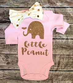 Little Peanut Gold and Pink Onesie - BellaPiccoli