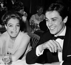 May 1962, Paris, France — Austrian-born German actress Romy Schneider (perhaps making a funny face at Pagan?) and her fiance French actor Alain Delon. — Image by © Paul Guglielmo/Apis/Sygma/Corbis
