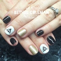 Harry Potter nail art, gel polish, free hand