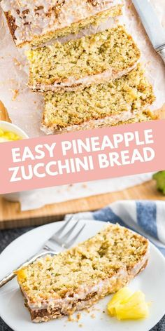 Zucchini Pineapple Bread with coconut and crushed pineapple makes a delicious tropical treat! This extra moist quick bread is a great way to use up all those zucchinis. Easy No Bake Desserts, Best Dessert Recipes, Desert Recipes, Cheesecake Recipes, Easy Desserts, Sweet Recipes, Delicious Desserts, Party Recipes, Summer Grilling Recipes