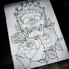 Design Tattoo Skull Roses 20 Ideas For 2019 Graffiti Drawing, Pencil Art Drawings, Art Drawings Sketches, Tattoo Sketches, Tattoo Drawings, Skull Drawings, Skull Tattoo Design, Tattoo Designs, Skull Design