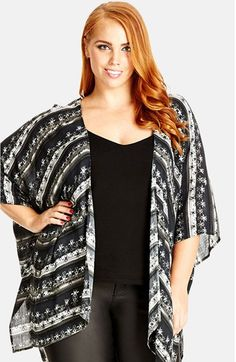 City Chic 'Geo Fun' Kimono Jacket (Plus Size) available at #Nordstrom