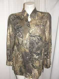 Chico's Design Top Brown Black Printed Linen Long Sleeve Button Shirt Sz 1 M #Chicos #ButtonDownShirt #CareerCasual