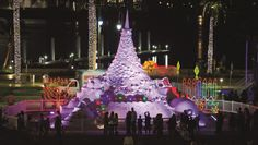Tree Lighting of 2012's Sandi the Giant Holiday Sand Tree - Downtown West Palm Beach's Sand & Sea-Sun's Greetings holiday festivities
