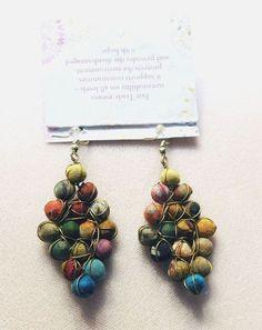 Elegant Hippy Chic Boho Kantha Sari Dangle Diamond Earrings - Fair Trade  #Handmade #DropDangle