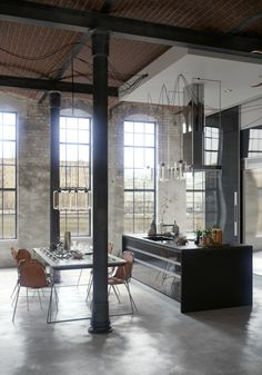 black accents look great in this industrial kitchen. not sure if it'd work in my kitchen with my low ceilings?